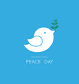 white dove and olive branch on blue sky vector image vector image