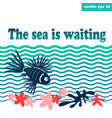 sea background with lion fish vector image
