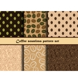 Coffee seamless pattern set vector image
