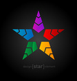 Abstract futuristic colorful Star on black vector image vector image