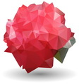 Abstract red rose in origami style on white vector image vector image