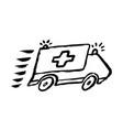 ambulance doodle drawing cartoon grunge vector image