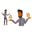 arab man comparing a with b balance of vector image vector image
