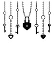 black silhouette of padlock and keys with chain vector image vector image
