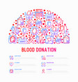 blood donation mutual aid concept in half circle vector image vector image
