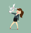 cartoon business woman shocked and tired vector image vector image