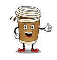 coffee cup and thumb up pop art vector image vector image