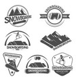 collection snowboarding logos emblems and vector image