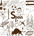 collection spain icons vector image vector image