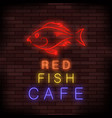 colorful neon fish food sign vector image