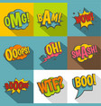 comic speech bubbles icon set flat style vector image vector image