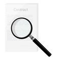 Contract with magnifying glass vector image vector image