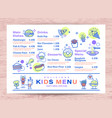 cute colorful kids meal menu place mat design vector image