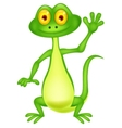 Cute green lizard cartoon waving hand vector image vector image