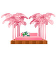 cute pink color bed with decor form of a frame of vector image vector image