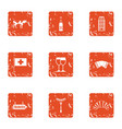 euro field icons set grunge style vector image vector image