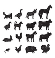 Farm animals black silhouettes vector image vector image