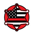 firefighter support star and flag emblem vector image vector image