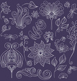 Floral Collection of Hand Drawn Design Elements vector image