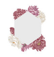 frame in form a rhombus with peony flowers vector image vector image