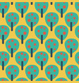 fruit trees teal red blue yellow background vector image vector image