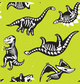 funny cartoon background with fossil dinosaurs vector image vector image