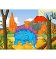 funny stegosaurus cartoon with volcano landscape b vector image vector image