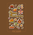 happy thanksgiving stickers and handwritten words vector image