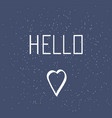 hello lettering in the isolated on blue background vector image