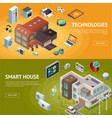 intelligent house isometric banners vector image vector image