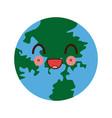 kawaii globe world earth map geography icon vector image vector image