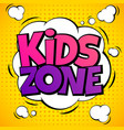 kids zone child game playground labels with vector image