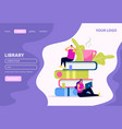 library flat web landing page vector image vector image