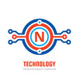 logo 2018 049 technology letter n vector image