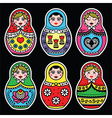 Matryoshka Russian doll colorful icons set on bla vector image