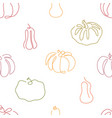 one line art style pumpkin seamless pattern vector image vector image
