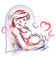 pregnant woman elegant body silhouette placed in vector image