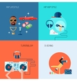 Rap music icons set flat vector image