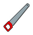 saw large wooden handle equipment vector image vector image