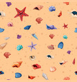 seamless background template with seashells and vector image