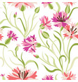 seamless floral pattern with blue corn flowers vector image vector image