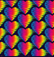seamless pattern glitch rainbow hearts vector image vector image