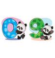 set cute bapanda bears with numbers vector image