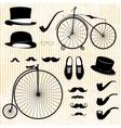 set gentleman and bicycle vector image vector image
