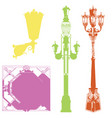 set of colorful street lanterns-7 vector image