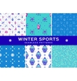 Set winter sport seamless patterns Holiday vector image