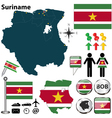 Suriname map vector image