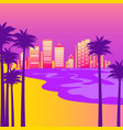 syntwave with beach palm trees and city vector image vector image
