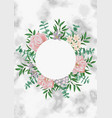 template with round frame and pink flowers on vector image vector image