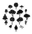 trees icons set simple style vector image